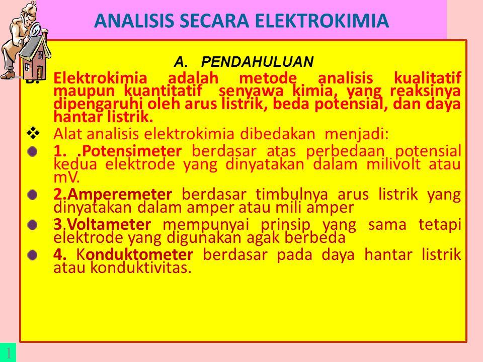 ANALISIS SECARA ELEKTROKIMIA A.PENDAHULUAN B.Elektrokimia adalah metode analisis kualitatif maupun kuantitatif senyawa kimia, yang reaksinya dipengaruhi oleh arus listrik, beda potensial, dan daya hantar listrik.
