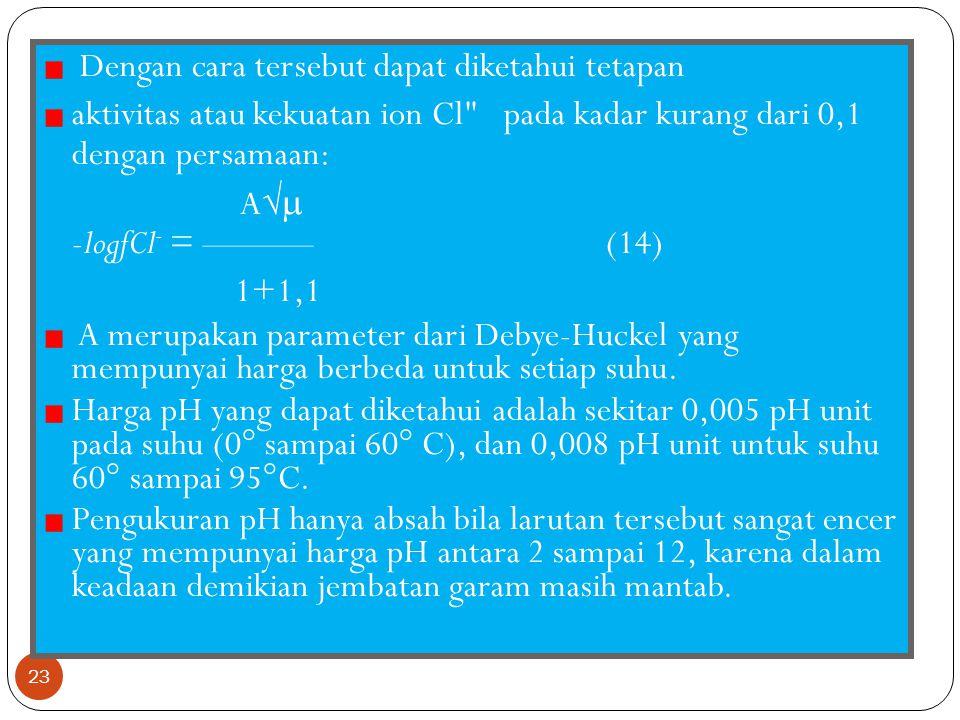 Penjelasan 22 E adalah potensial dari referen, maka dengan menggunakan rumus 11 keasaman yang diperoleh p(aH*fCl~) didapat persamaan: E-E° p(a H + f c