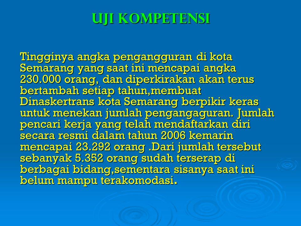 Uji Kompetensi Tingginya angka pengangguran di kota Semarang yang saat ini mencapai angka 230.000 orang, dan diperkirakan akan terus bertambah setiap