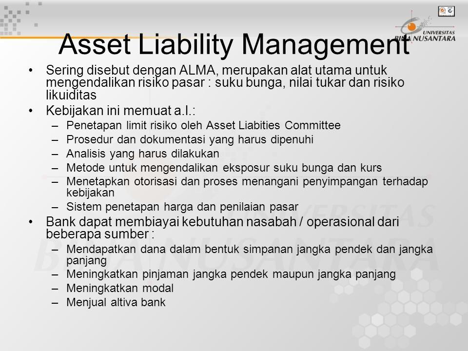 Asset Liability Management Sering disebut dengan ALMA, merupakan alat utama untuk mengendalikan risiko pasar : suku bunga, nilai tukar dan risiko liku