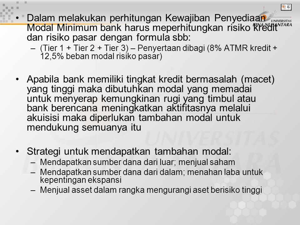Dalam melakukan perhitungan Kewajiban Penyediaan Modal Minimum bank harus meperhitungkan risiko kredit dan risiko pasar dengan formula sbb: –(Tier 1 +