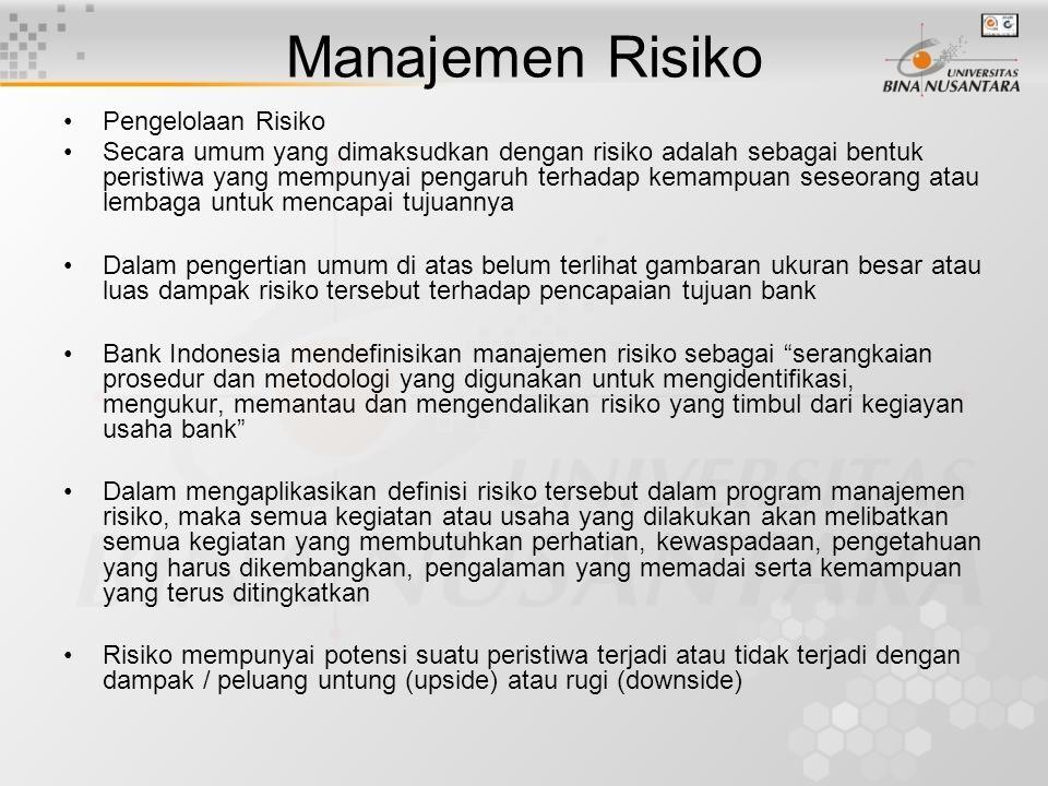 Pengelolaan Risiko Secara umum yang dimaksudkan dengan risiko adalah sebagai bentuk peristiwa yang mempunyai pengaruh terhadap kemampuan seseorang ata