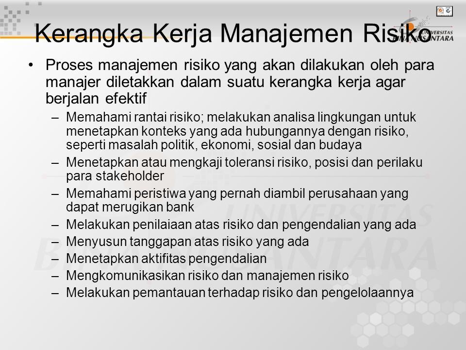 Kerangka Kerja Manajemen Risiko Proses manajemen risiko yang akan dilakukan oleh para manajer diletakkan dalam suatu kerangka kerja agar berjalan efek