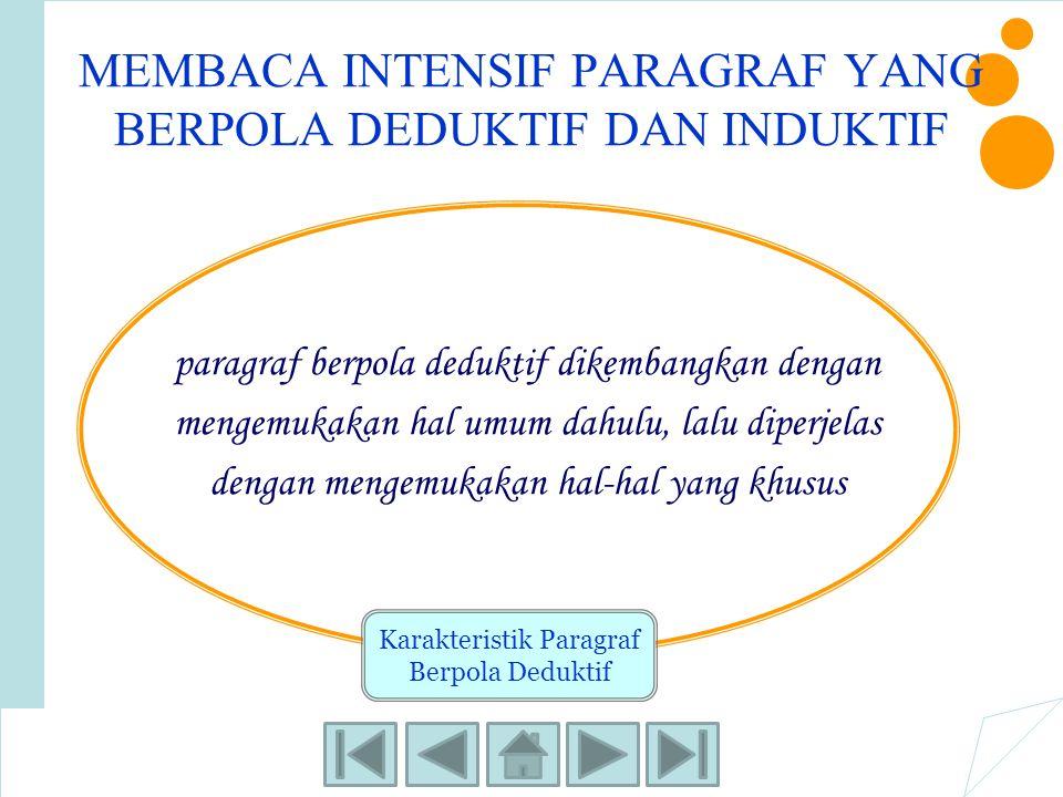 MEMBACA INTENSIF PARAGRAF YANG BERPOLA DEDUKTIF DAN INDUKTIF paragraf berpola deduktif dikembangkan dengan mengemukakan hal umum dahulu, lalu diperjel