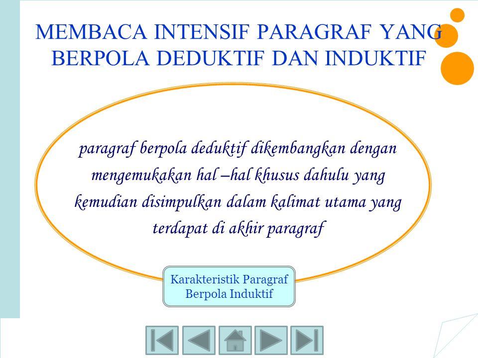 MEMBACA INTENSIF PARAGRAF YANG BERPOLA DEDUKTIF DAN INDUKTIF paragraf berpola deduktif dikembangkan dengan mengemukakan hal –hal khusus dahulu yang ke