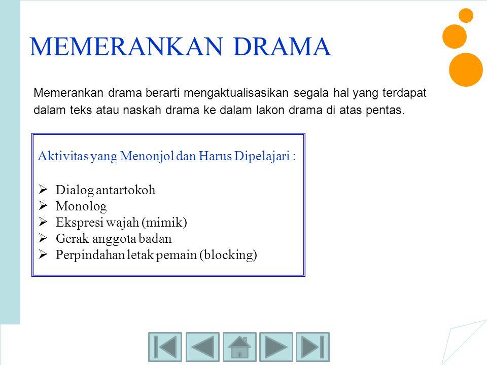 MEMERANKAN DRAMA Memerankan drama berarti mengaktualisasikan segala hal yang terdapat dalam teks atau naskah drama ke dalam lakon drama di atas pentas