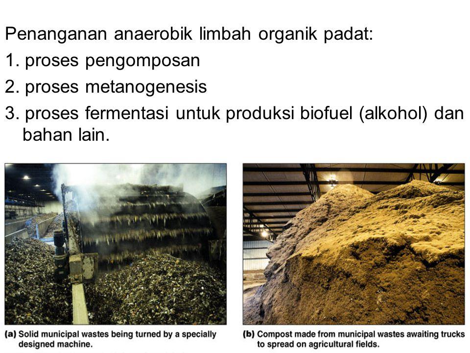 Penanganan anaerobik limbah organik padat: 1. proses pengomposan 2. proses metanogenesis 3. proses fermentasi untuk produksi biofuel (alkohol) dan bah