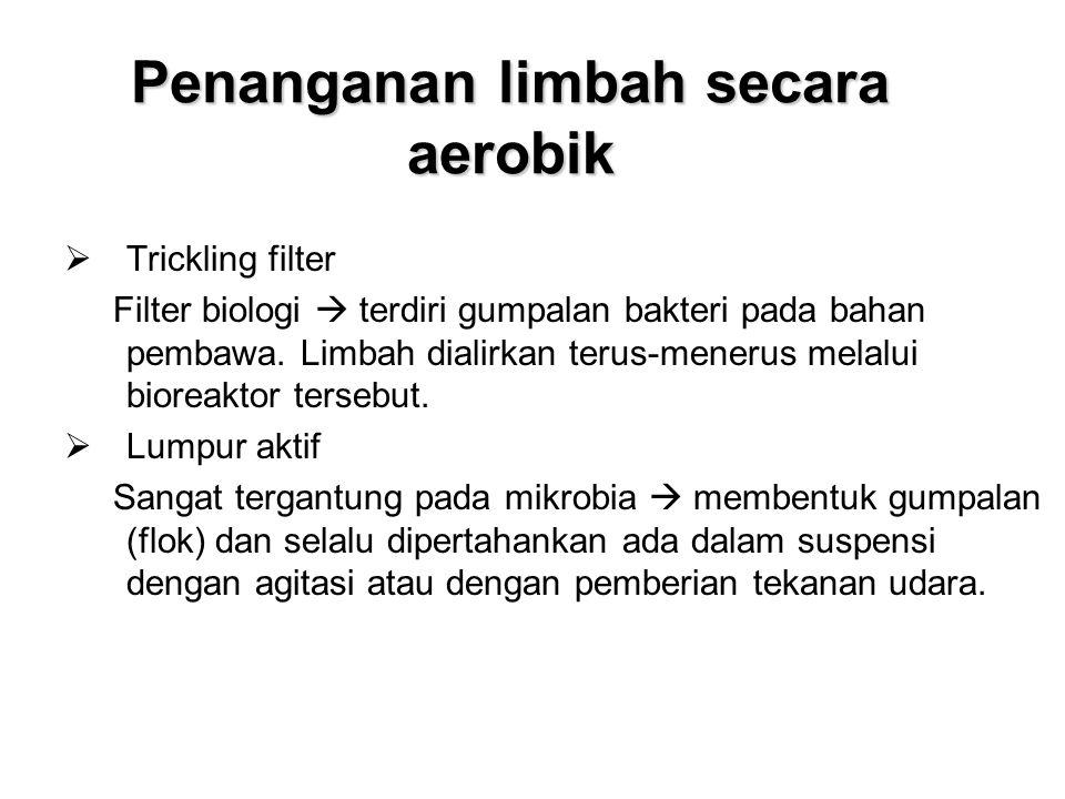 Penanganan limbah secara aerobik  Trickling filter Filter biologi  terdiri gumpalan bakteri pada bahan pembawa. Limbah dialirkan terus-menerus melal