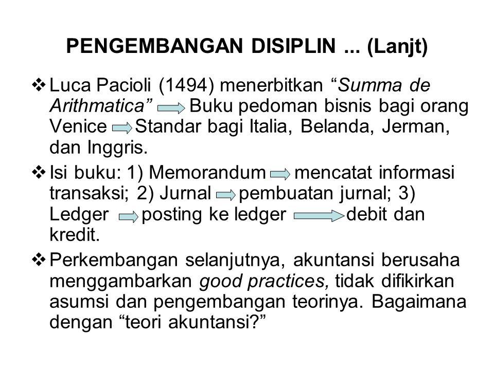 """PENGEMBANGAN DISIPLIN... (Lanjt)  Luca Pacioli (1494) menerbitkan """"Summa de Arithmatica"""" Buku pedoman bisnis bagi orang Venice Standar bagi Italia, B"""