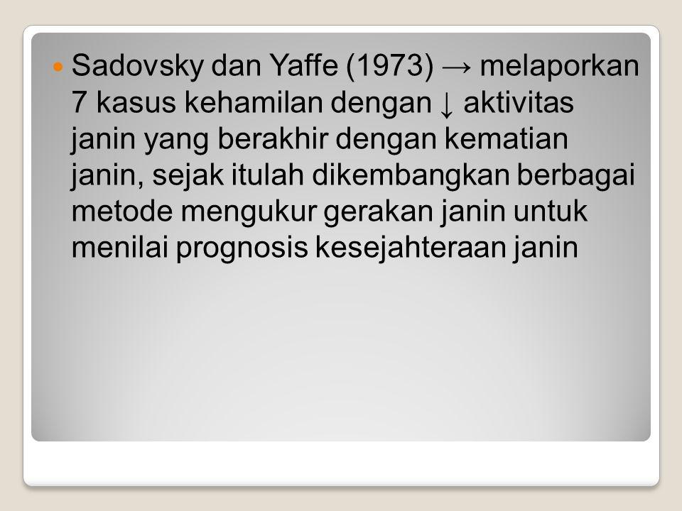 Sadovsky dan Yaffe (1973) → melaporkan 7 kasus kehamilan dengan ↓ aktivitas janin yang berakhir dengan kematian janin, sejak itulah dikembangkan berba