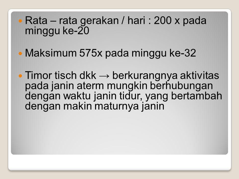 Rata – rata gerakan / hari : 200 x pada minggu ke-20 Maksimum 575x pada minggu ke-32 Timor tisch dkk → berkurangnya aktivitas pada janin aterm mungkin