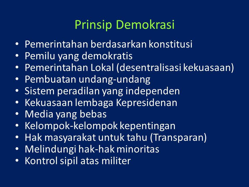 Prinsip Demokrasi Pemerintahan berdasarkan konstitusi Pemilu yang demokratis Pemerintahan Lokal (desentralisasi kekuasaan) Pembuatan undang-undang Sis