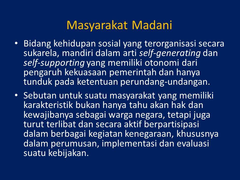 Masyarakat Madani Bidang kehidupan sosial yang terorganisasi secara sukarela, mandiri dalam arti self-generating dan self-supporting yang memiliki oto