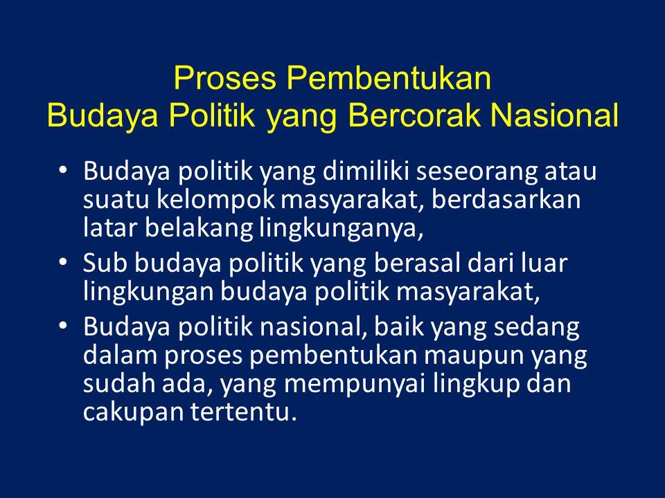 Proses Pembentukan Budaya Politik yang Bercorak Nasional Budaya politik yang dimiliki seseorang atau suatu kelompok masyarakat, berdasarkan latar bela