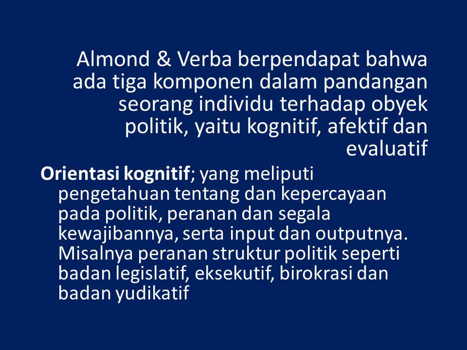 Almond & Verba berpendapat bahwa ada tiga komponen dalam pandangan seorang individu terhadap obyek politik, yaitu kognitif, afektif dan evaluatif Orie