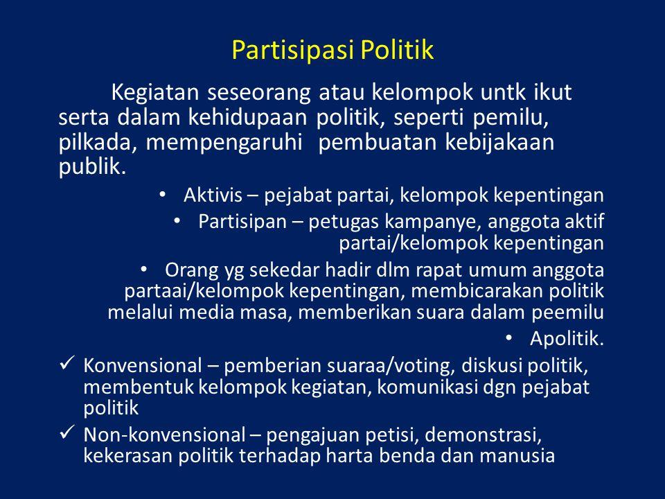 Partisipasi Politik Kegiatan seseorang atau kelompok untk ikut serta dalam kehidupaan politik, seperti pemilu, pilkada, mempengaruhi pembuatan kebijak