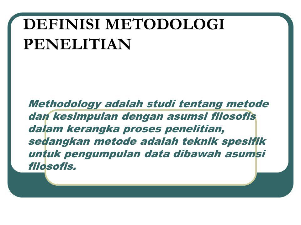 Methodology adalah studi tentang metode dan kesimpulan dengan asumsi filosofis dalam kerangka proses penelitian, sedangkan metode adalah teknik spesif