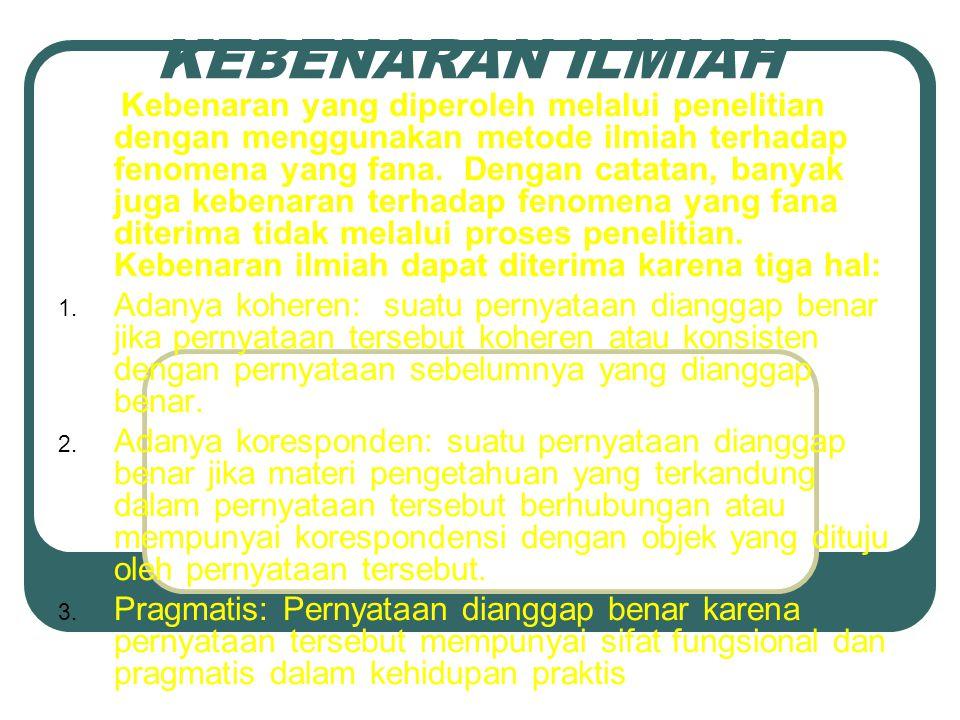 by: David Sukardi Kodrat Penerimaan Kebenaran Ilmiah 1.