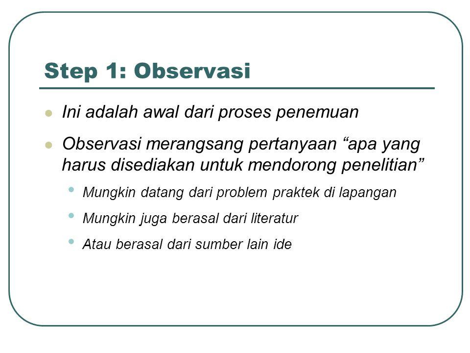 """Step 1: Observasi Ini adalah awal dari proses penemuan Observasi merangsang pertanyaan """"apa yang harus disediakan untuk mendorong penelitian"""" Mungkin"""