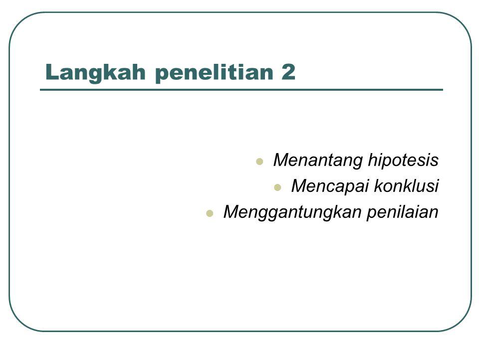 Step 8: Menantang Hipotesis Dua kebiasaan pendekatan: Verifikasi: Berusaha untuk menyediakan dukungan untuk penerimaan hipotesis Falsifikasi: Berusaha untuk menyediakan dukungan untuk penolakan hipotesis Dalam kasus lain semua uji harus: Didokumentasikan Dapat diulang Akurat