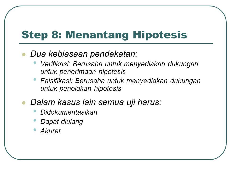 Step 8: Menantang Hipotesis Dua kebiasaan pendekatan: Verifikasi: Berusaha untuk menyediakan dukungan untuk penerimaan hipotesis Falsifikasi: Berusaha