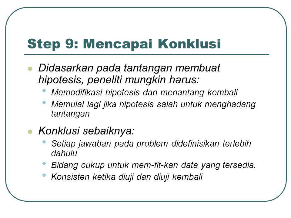 Step 9: Mencapai Konklusi Didasarkan pada tantangan membuat hipotesis, peneliti mungkin harus: Memodifikasi hipotesis dan menantang kembali Memulai la