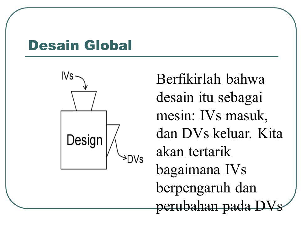 Desain Global Berfikirlah bahwa desain itu sebagai mesin: IVs masuk, dan DVs keluar. Kita akan tertarik bagaimana IVs berpengaruh dan perubahan pada D