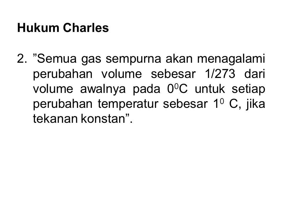 """Hukum Charles 2.""""Semua gas sempurna akan menagalami perubahan volume sebesar 1/273 dari volume awalnya pada 0 0 C untuk setiap perubahan temperatur se"""