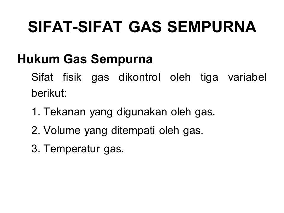 SIFAT-SIFAT GAS SEMPURNA Sifat-sifat gas sempurna sempurna, yang mengalami perubahan pada variabel variabel yang disebutkan di atas, akan mengikuti hukum-hukum berikut (diperoleh dari eksperimen): 1.
