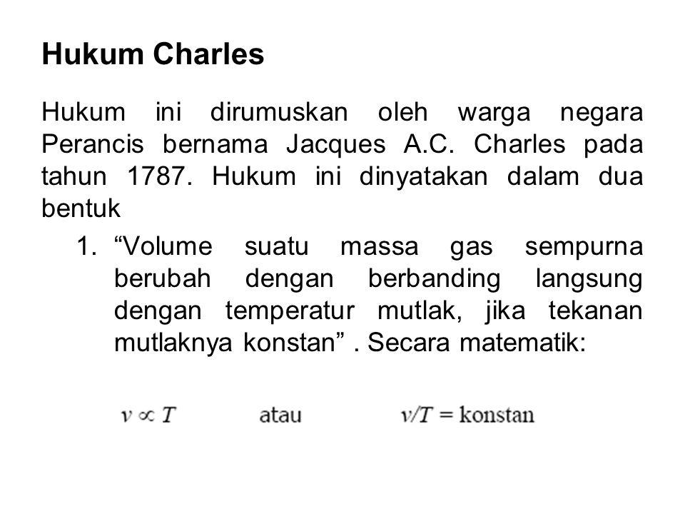 Hukum Charles 2. Semua gas sempurna akan menagalami perubahan volume sebesar 1/273 dari volume awalnya pada 0 0 C untuk setiap perubahan temperatur sebesar 1 0 C, jika tekanan konstan .