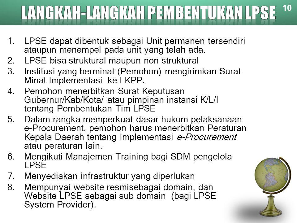 10 1.LPSE dapat dibentuk sebagai Unit permanen tersendiri ataupun menempel pada unit yang telah ada. 2.LPSE bisa struktural maupun non struktural 3.In
