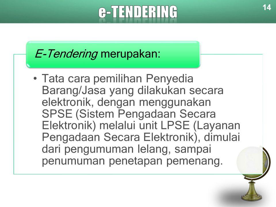 14 Tata cara pemilihan Penyedia Barang/Jasa yang dilakukan secara elektronik, dengan menggunakan SPSE (Sistem Pengadaan Secara Elektronik) melalui uni