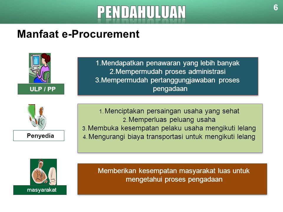 Manfaat e-Procurement 1.Mendapatkan penawaran yang lebih banyak 2.Mempermudah proses administrasi 3.Mempermudah pertanggungjawaban proses pengadaan 1.