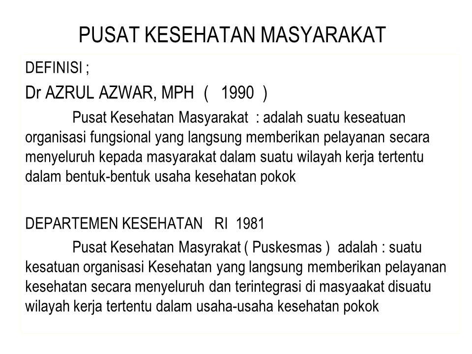 PUSAT KESEHATAN MASYARAKAT DEFINISI ; Dr AZRUL AZWAR, MPH ( 1990 ) Pusat Kesehatan Masyarakat : adalah suatu keseatuan organisasi fungsional yang lang