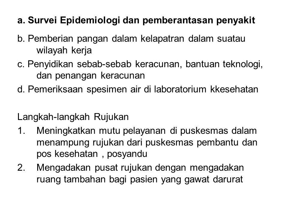 a. Survei Epidemiologi dan pemberantasan penyakit b. Pemberian pangan dalam kelapatran dalam suatau wilayah kerja c. Penyidikan sebab-sebab keracunan,
