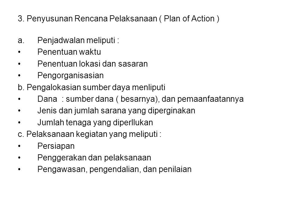 3. Penyusunan Rencana Pelaksanaan ( Plan of Action ) a.Penjadwalan meliputi : Penentuan waktu Penentuan lokasi dan sasaran Pengorganisasian b. Pengalo