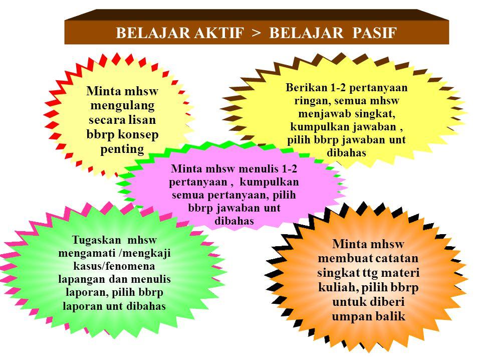 BELAJAR AKTIF > BELAJAR PASIF Minta mhsw mengulang secara lisan bbrp konsep penting Berikan 1-2 pertanyaan ringan, semua mhsw menjawab singkat, kumpul