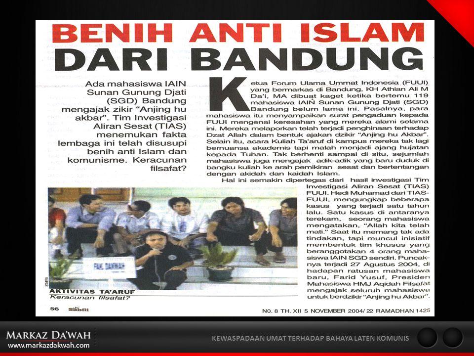 www.markazdakwah.com KEWASPADAAN UMAT TERHADAP BAHAYA LATEN KOMUNIS ORGANISASI PKI, PRD & PAPERNAS