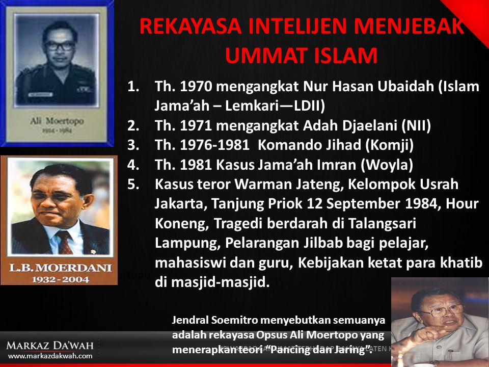 www.markazdakwah.com KEWASPADAAN UMAT TERHADAP BAHAYA LATEN KOMUNIS  Ketegangan Islam versus militer pada awal Orde Baru dimanfaatkan oleh Pater Beek  Ali Moertopo mempunyai rencana jangka panjang untuk berkuasa.
