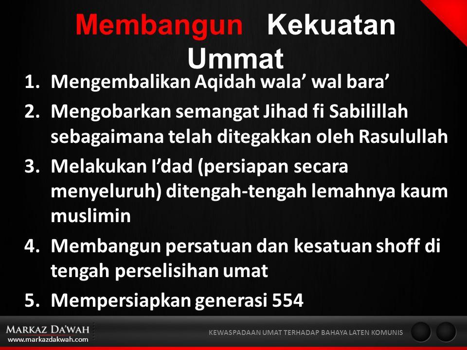 www.markazdakwah.com KEWASPADAAN UMAT TERHADAP BAHAYA LATEN KOMUNIS Membangun Kekuatan Ummat 1.Mengembalikan Aqidah wala' wal bara' 2.Mengobarkan semangat Jihad fi Sabilillah sebagaimana telah ditegakkan oleh Rasulullah 3.Melakukan I'dad (persiapan secara menyeluruh) ditengah-tengah lemahnya kaum muslimin 4.Membangun persatuan dan kesatuan shoff di tengah perselisihan umat 5.Mempersiapkan generasi 554