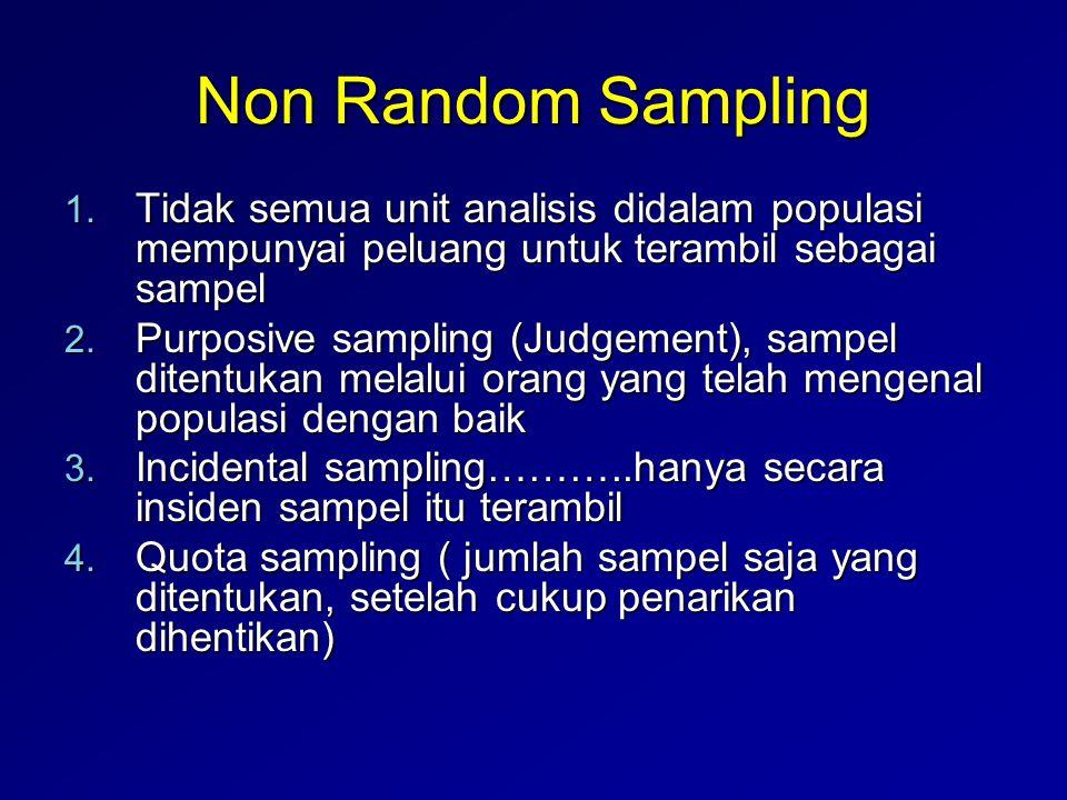 Non Random Sampling 1. Tidak semua unit analisis didalam populasi mempunyai peluang untuk terambil sebagai sampel 2. Purposive sampling (Judgement), s