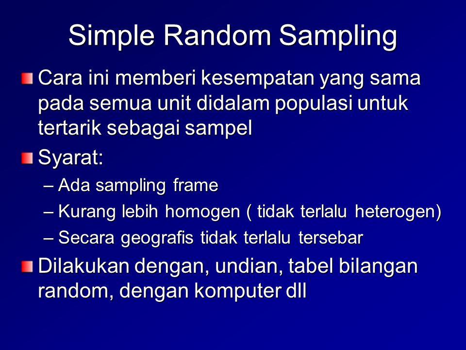 Simple Random Sampling Cara ini memberi kesempatan yang sama pada semua unit didalam populasi untuk tertarik sebagai sampel Syarat: –Ada sampling fram
