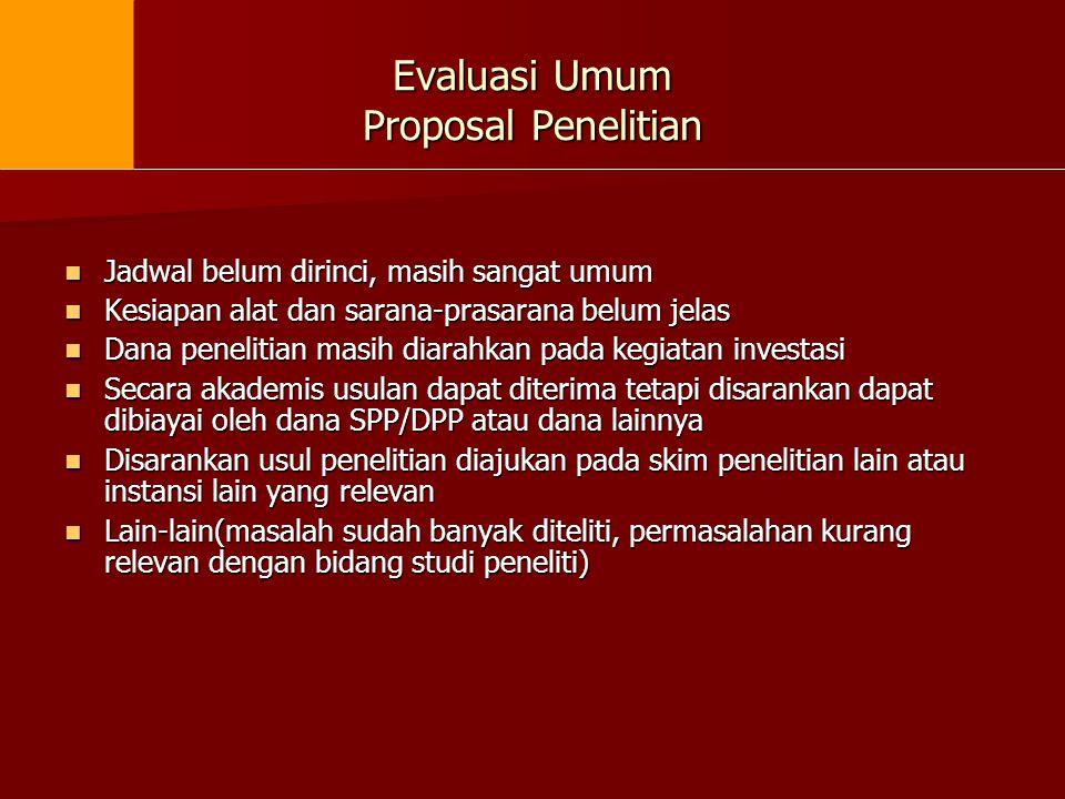 Evaluasi Umum Proposal Penelitian Jadwal belum dirinci, masih sangat umum Jadwal belum dirinci, masih sangat umum Kesiapan alat dan sarana-prasarana b