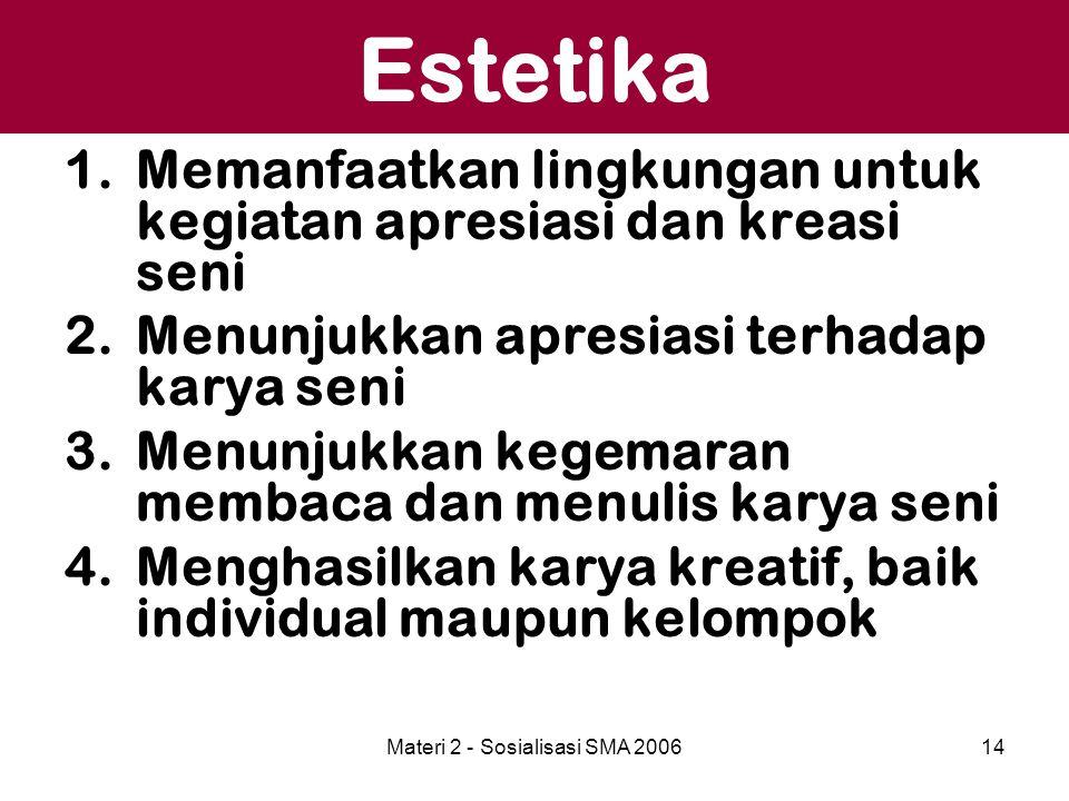 Materi 2 - Sosialisasi SMA 200614 Estetika 1.Memanfaatkan lingkungan untuk kegiatan apresiasi dan kreasi seni 2.Menunjukkan apresiasi terhadap karya s