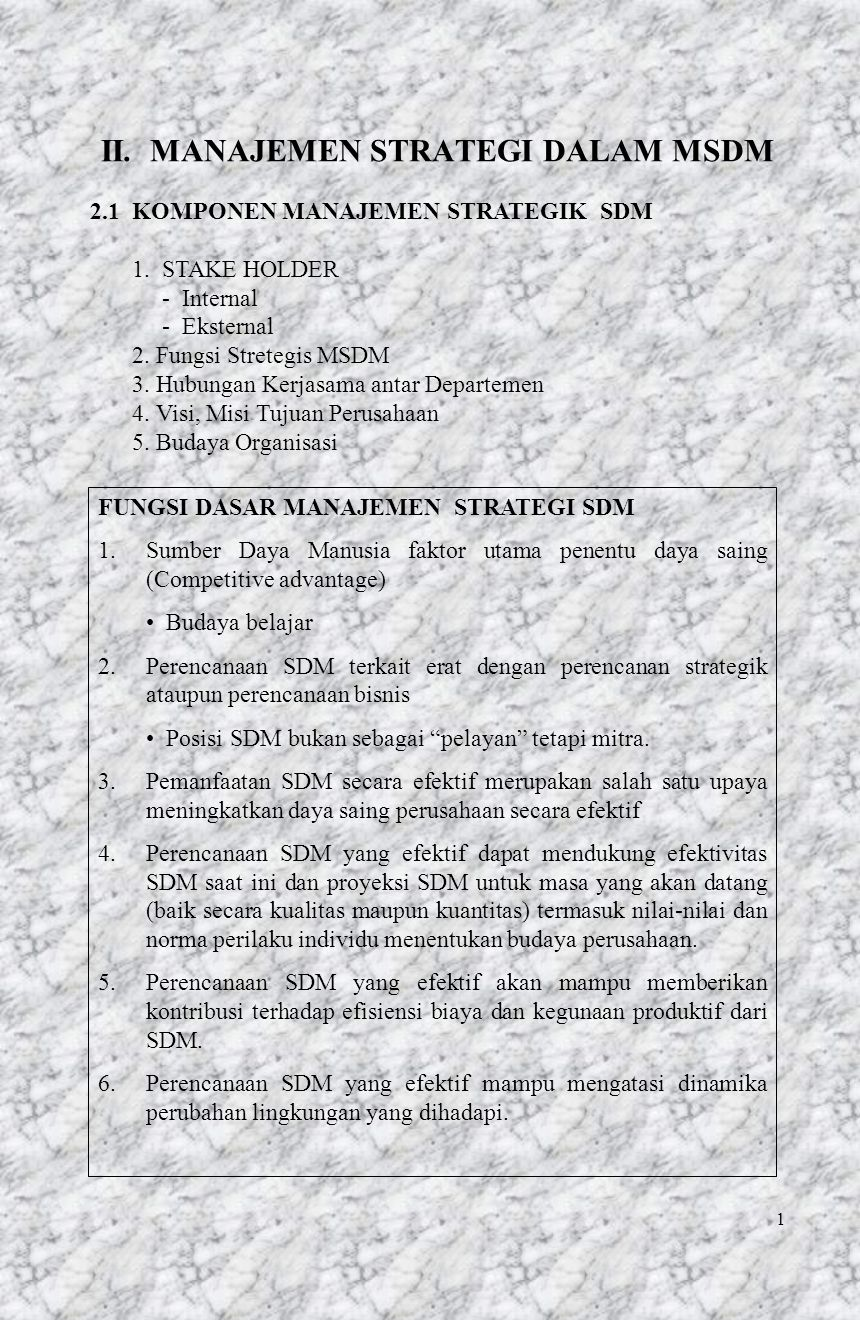 1 II. MANAJEMEN STRATEGI DALAM MSDM 2.1 KOMPONEN MANAJEMEN STRATEGIK SDM 1. STAKE HOLDER - Internal - Eksternal 2. Fungsi Stretegis MSDM 3. Hubungan K