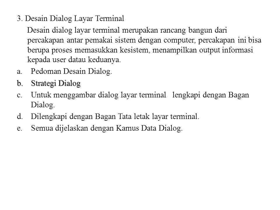 3. Desain Dialog Layar Terminal Desain dialog layar terminal merupakan rancang bangun dari percakapan antar pemakai sistem dengan computer, percakapan