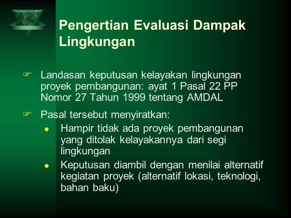 Pengertian Evaluasi Dampak Lingkungan FLandasan keputusan kelayakan lingkungan proyek pembangunan: ayat 1 Pasal 22 PP Nomor 27 Tahun 1999 tentang AMDA