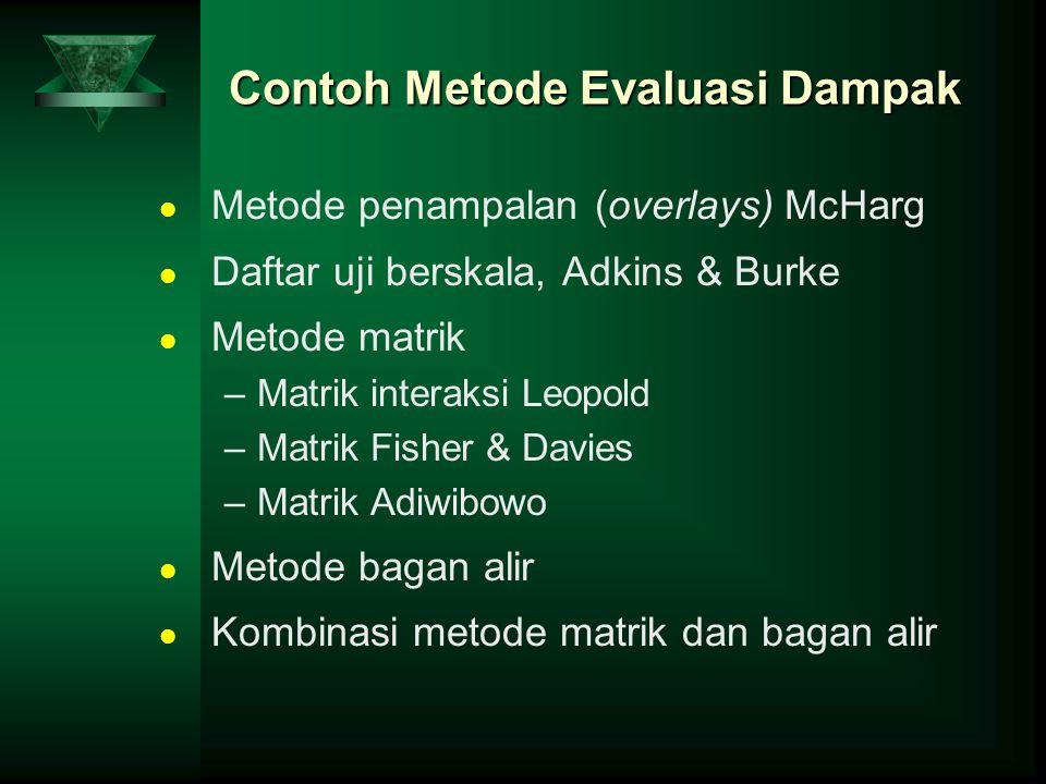 Contoh Metode Evaluasi Dampak Metode penampalan (overlays) McHarg Daftar uji berskala, Adkins & Burke Metode matrik –Matrik interaksi Leopold –Matrik