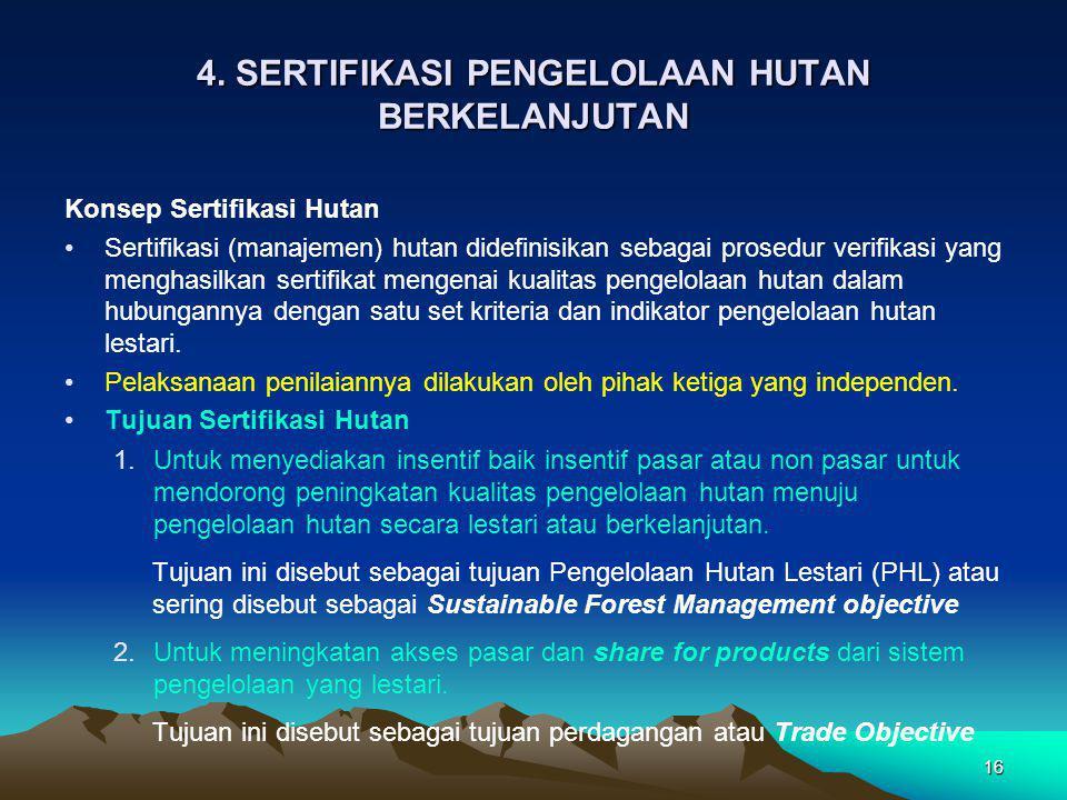 4. SERTIFIKASI PENGELOLAAN HUTAN BERKELANJUTAN Konsep Sertifikasi Hutan Sertifikasi (manajemen) hutan didefinisikan sebagai prosedur verifikasi yang m