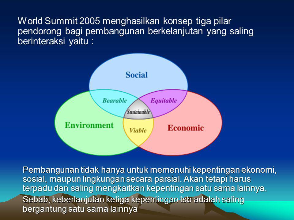 World Summit 2005 menghasilkan konsep tiga pilar pendorong bagi pembangunan berkelanjutan yang saling berinteraksi yaitu : Pembangunan tidak hanya untuk memenuhi kepentingan ekonomi, sosial, maupun lingkungan secara parsial.